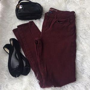 American Eagle size 12 x-long burgundy jeans